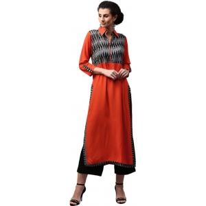 Libas Orange Printed Women's Straight Kurta