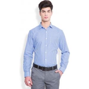 Mark Taylor Men's Checkered Formal Blue Checked Shirt