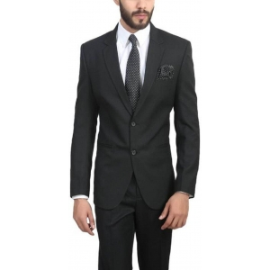 ManQ Black Poly Viscose Single Breasted Wedding Blazer