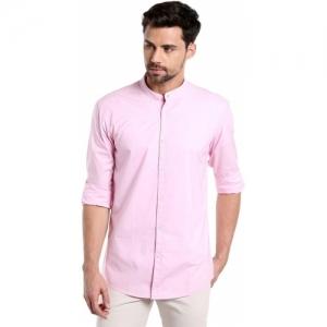 Dennis Lingo Men's Solid Casual Pink Shirt