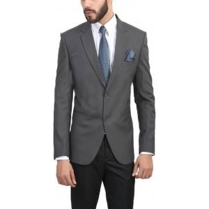 ManQ Gray Poly Viscose Single Breasted Wedding Blazer