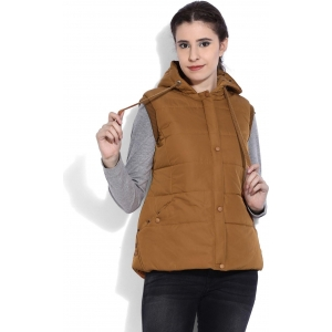 Fort Collins Brown Nylon Blend Sleeveless Solid Puffer Jacket