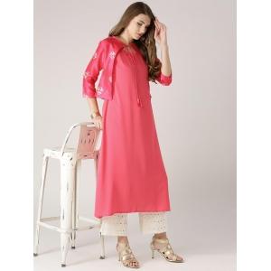 Libas Women's Solid A-line Kurta(Pink)