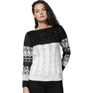 Roadster Black Self Design Round Neck Casual Sweater