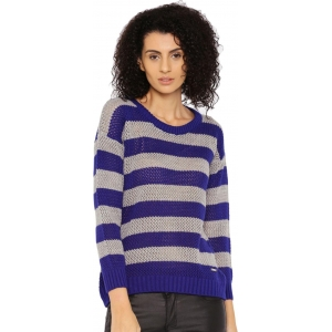 Roadster Blue & Grey Self Design Round Neck Casual Sweater