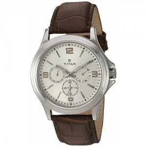Titan Silver Dial & Brown Leather Band Analog Watch-1698SL01