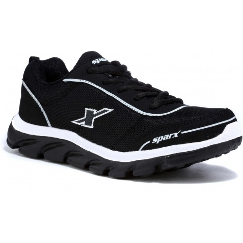 Sparx Black & White Syntheic Lace Up Running Shoes