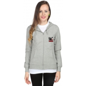 Campus Sutra Full Sleeve Solid Women's Gray Fleece Jacket