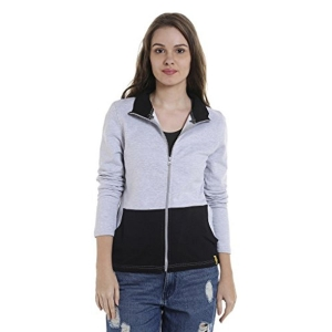 Campus Sutra Women's Gray Full Sleeve Solid Jacket