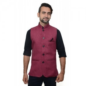 Oora Cherry Solid Poly Cotton Nehru Jacket