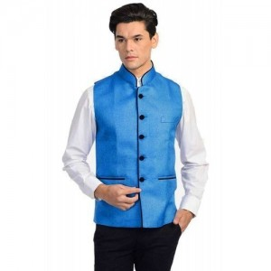 Vastraa Fusion Purple Solid Poly Cotton Nehru Jacket