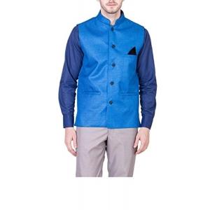 Akaas Men's Blue Solid Jute Nehru Jacket