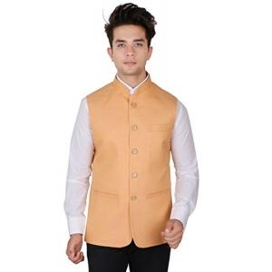 La Rainbow Peach Solid Poly Silk Nehru Jacket