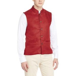 Ethnicity Red Solid Poly Cotton Nehru Jacket