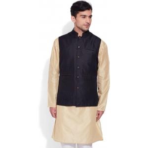 Very Me Black Solid Sleeveless Nehru Jacket