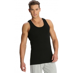 Jockey Solid Black Cotton Men's Vest