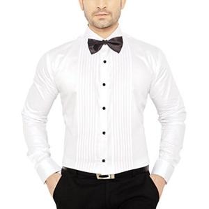 GlobalRang Men's Tuxedo Cotton White Shirt With Bow