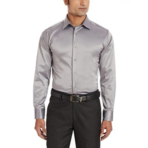V Dot Men's Gray Solid Party Wear Shirt