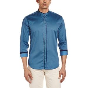Van Heusen Men's Blue Party Shirt With Band Collar