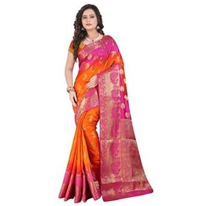 Shagun Trendz Orange & Pink Banarasi Silk Saree