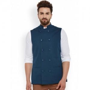 Hypernation Teal Double-Breasted Nehru Jacket