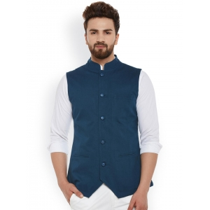 Hypernation Teal Cotton Nehru Jacket