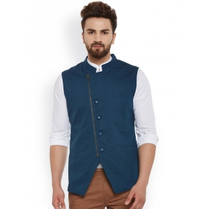 Hypernation Teal Blue Nehru Jacket