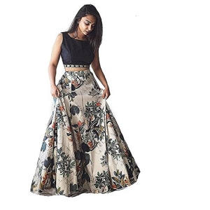 Palli Fashion Black Floral Printed Silk Lehenga