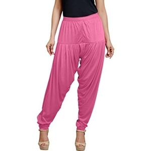 Super Stretch Pink Solid Viscose Spandex Harem Pant