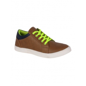 1AAROW brown leatherette lace up shoe