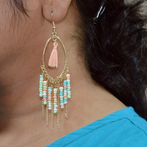 Sarah Bohemian Tassel Beaded Metal Dangle Earring