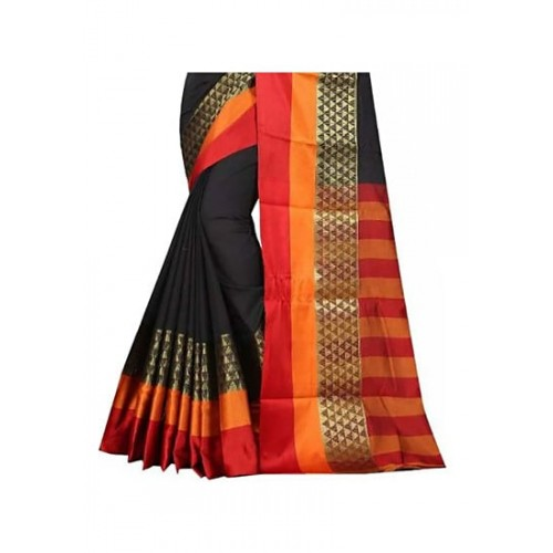 Vatsla Enterprise Black Cotton Silk Saree