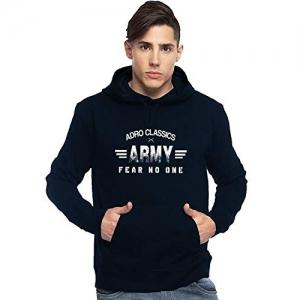 Adro Navy Blue Cotton Printed Hooded Sweatshirt