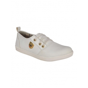 1AAROW white leatherette lace up shoe