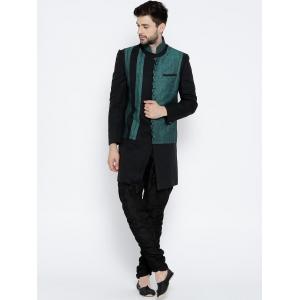 Manu Black & Green Sherwani