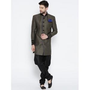 Manu Black & Brown Checked Pattern Sherwani