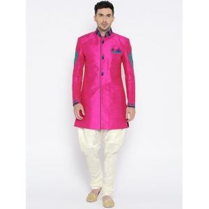 Manu Pink & Cream-Coloured Sherwani