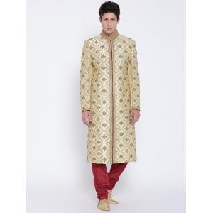 Manish Creations Cream-Coloured & Maroon Patterned Handicraft Sherwani