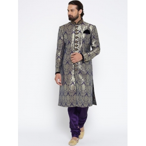 Manu Purple & Golden Patterned Sherwani