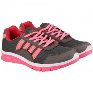 Chevit Women's Pink & Gray Sports Shoes