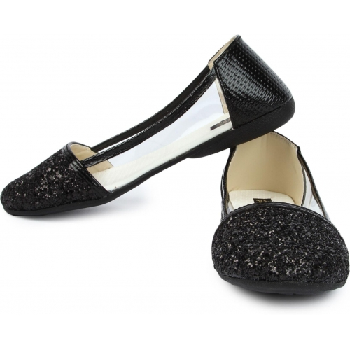 Cute Feet Black Leather Transparent Slip-On Casual Bellies
