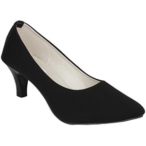 Do Bhai Women's Black Suede Leather Formal Shoes
