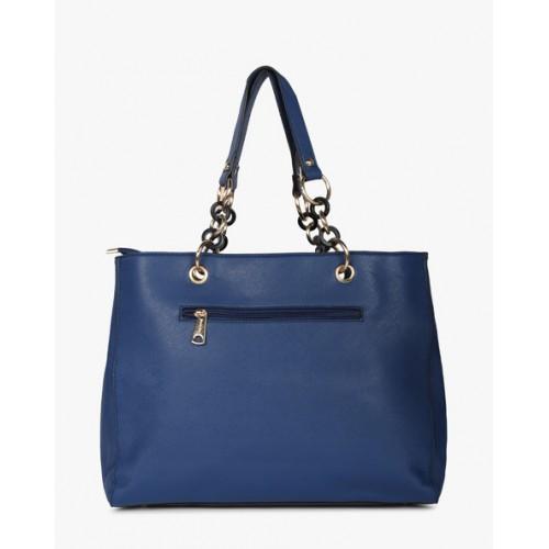 Diana Korr Blue PU Textured Handbag