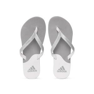 Adidas Grey Synthetic Colourblocked Flip-Flops with Glitter Detail