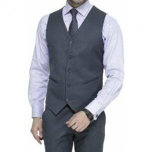 Manq Gray Viscose Solid Single Breasted Waistcoat