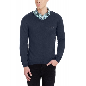 Pepe Jeans Men's Navy Blue Solid Acrylic Sweater