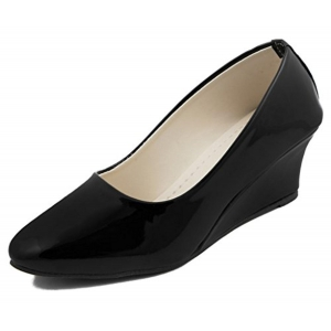 Adjoin Steps Black PU Leather Formal Shoes