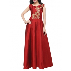 KMOZI Maroon Pure Silk Embroidered Gown