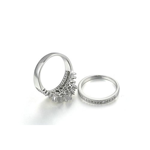 S.A.V.I Silver Plated Luxury High Quality Crown Ring Set