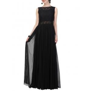 JHA FASHION Black Net Party Wear Gown